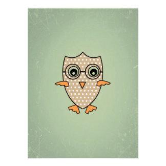 Cute Owl Bird Vintage Retro Mint Green Background Announcements