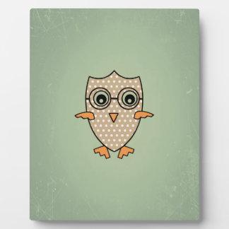 Cute Owl Bird. Vintage Retro Mint Green Background Photo Plaque