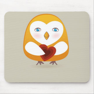 Cute OWL bird with heart Mouse Pad