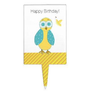 Cute Owl Birthday Greeting Cake Topper