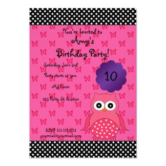 "Cute owl birthday invitation 5"" x 7"" invitation card"