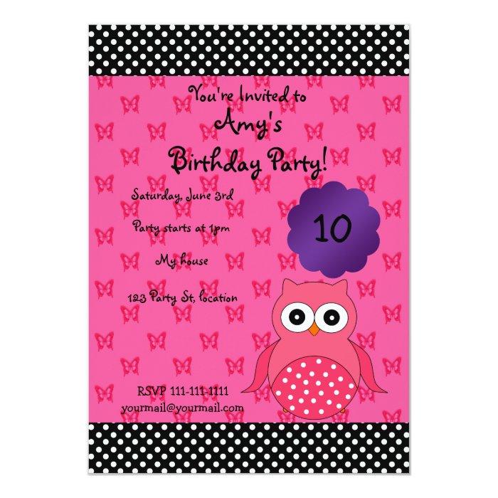 Cute owl birthday invitation