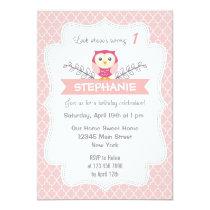 Cute Owl Birthday Invitation Sweet Light Pink