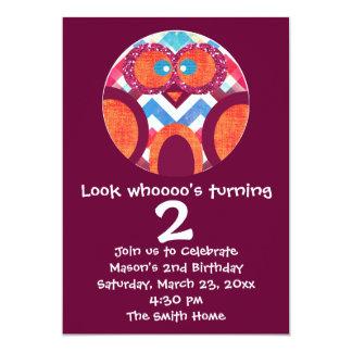 Cute Owl Birthday Party Invitation Purple Orange