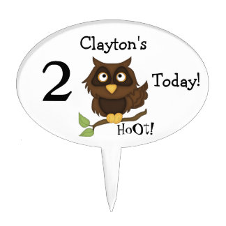 Cute Owl Birthday-Personalize Name-HoOt! Cake Topper