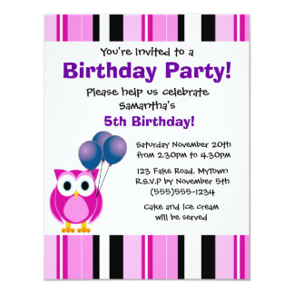Cute Owl Birthday Pink Purple Party Invitation