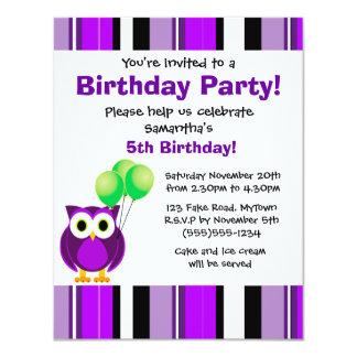 Cute Owl Birthday Purple Green Party Invitation