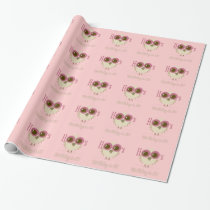 cute owl birthday wrapping paper pink retro style