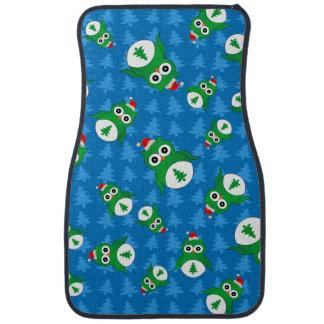 Cute owl blue christmas trees car mat