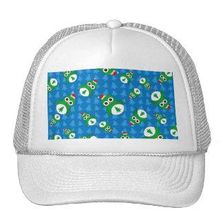 Cute owl blue christmas trees mesh hats