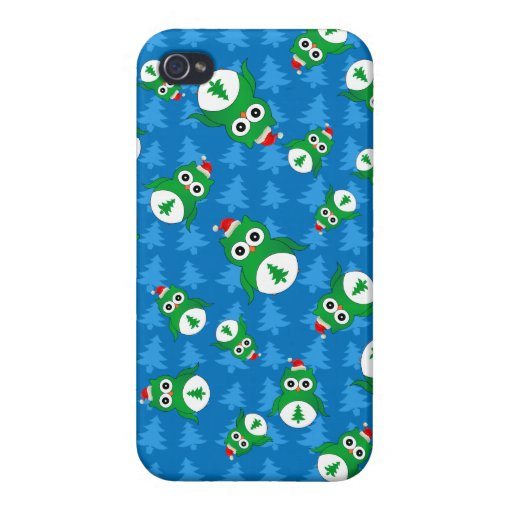 Cute owl blue christmas trees iPhone 4 case
