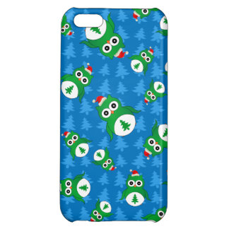 Cute owl blue christmas trees iPhone 5C covers