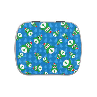 Cute owl blue christmas trees jelly belly tins