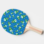 Cute owl blue christmas trees ping pong paddle