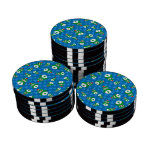 Cute owl blue christmas trees set of poker chips
