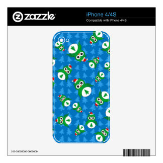 Cute owl blue christmas trees skin for the iPhone 4