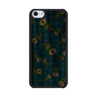 Cute owl blue christmas trees carved® walnut iPhone 5C case