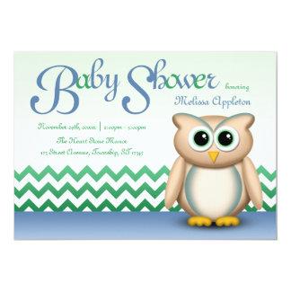 Cute Owl - Blue & Green Chevron Baby Shower Card