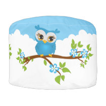 Cute Owl Blue on a Branch Monogram Round Pouf