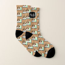 Cute owl book Back to school pattern Monogram Socks