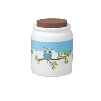 Cute Owl Boy on a Branch Candy Jar