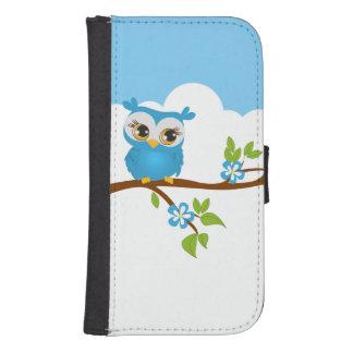 Cute Owl Boy on a Branch Galaxy S4 Wallet Cases