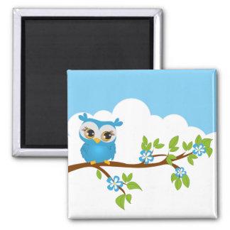 Cute Owl Boy on a Branch Magnet