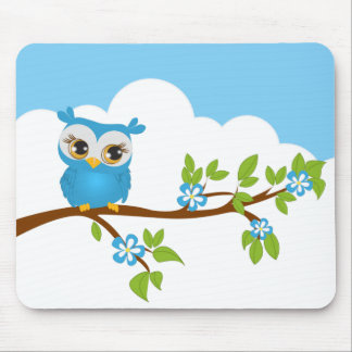 Cute Owl Boy on a Branch Mousepad