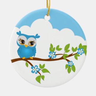 Cute Owl Boy on a Branch Ornament