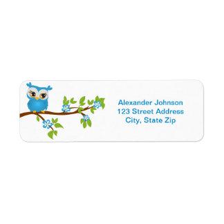 Cute Owl Boy on a Branch Return Address Return Address Label
