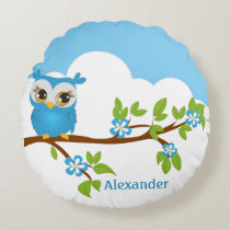 Cute Owl Boy on a Branch Round Pillow