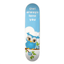 Cute Owl Boy on a Branch Skateboard