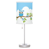 Cute Owl Boy on a Branch Table Lamp