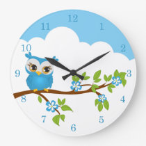 Cute Owl Boy on a Branch Wall Clocks