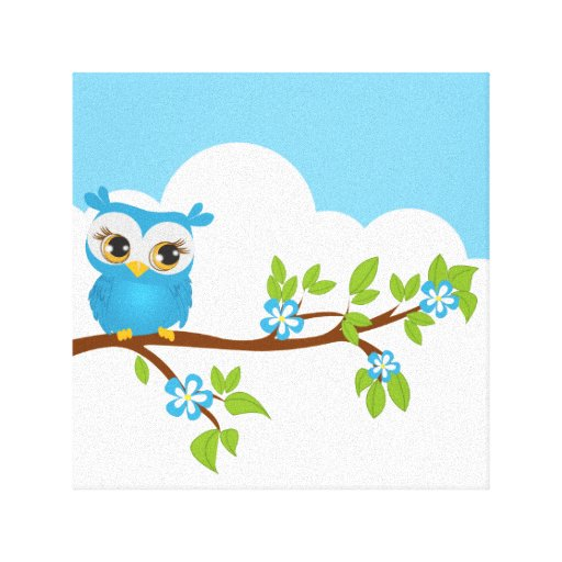 Cute Owl Boy on a Branch Wrapped Canvas Canvas Print
