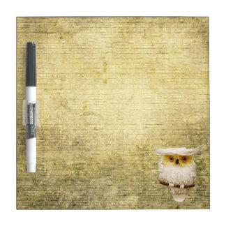 Cute Owl & Brick Wall Dry Erase Board