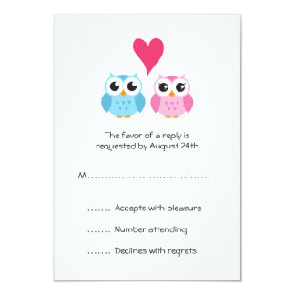 Cute owl bride and groom couple heart reply RSVP Card