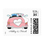 Cute Owl Bride and Groom on a Car Personalized Postage