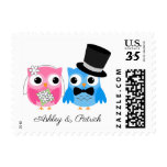 Cute Owl Bride and Groom Personalized Stamp