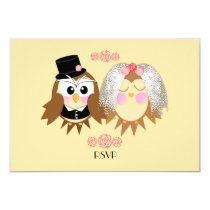 Cute Owl Bride and Groom Personalized Wedding RSVP Card