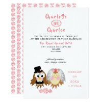 Cute Owl Bride and Groom Wedding Invitation