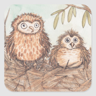Cute Owl Brothers Square Sticker
