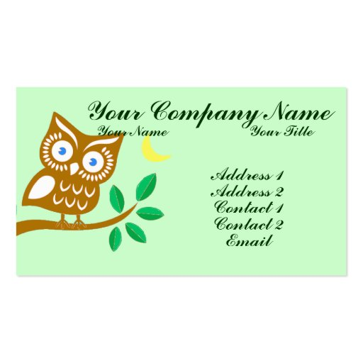 Cute owl business cards zazzle for Owl business cards