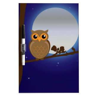 Cute Owl By The Moonlight Dry-Erase Board