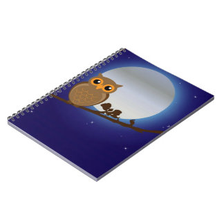 Cute Owl By The Moonlight Spiral Notebook