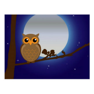 Cute Owl By The Moonlight Postcard