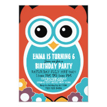 Cute Owl Cartoon Birthday Invitation Card for Kids