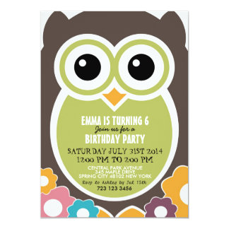 Cute Owl Cartoon Birthday Invitation Card for Kids