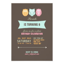 Cute Owl Cartoon Birthday Invitation for Kids