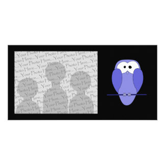 Cute Owl Cartoon. Blue. Card
